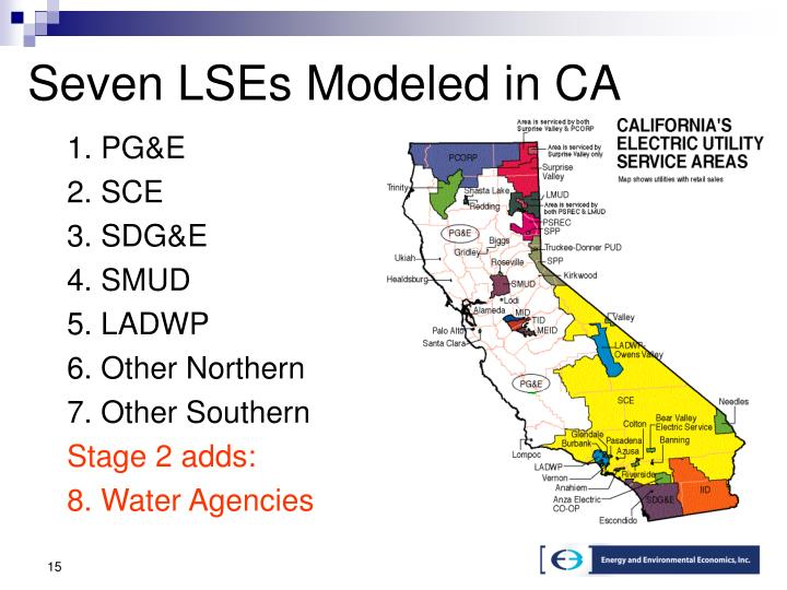 Seven LSEs Modeled in CA
