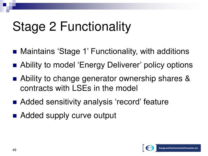 Stage 2 Functionality