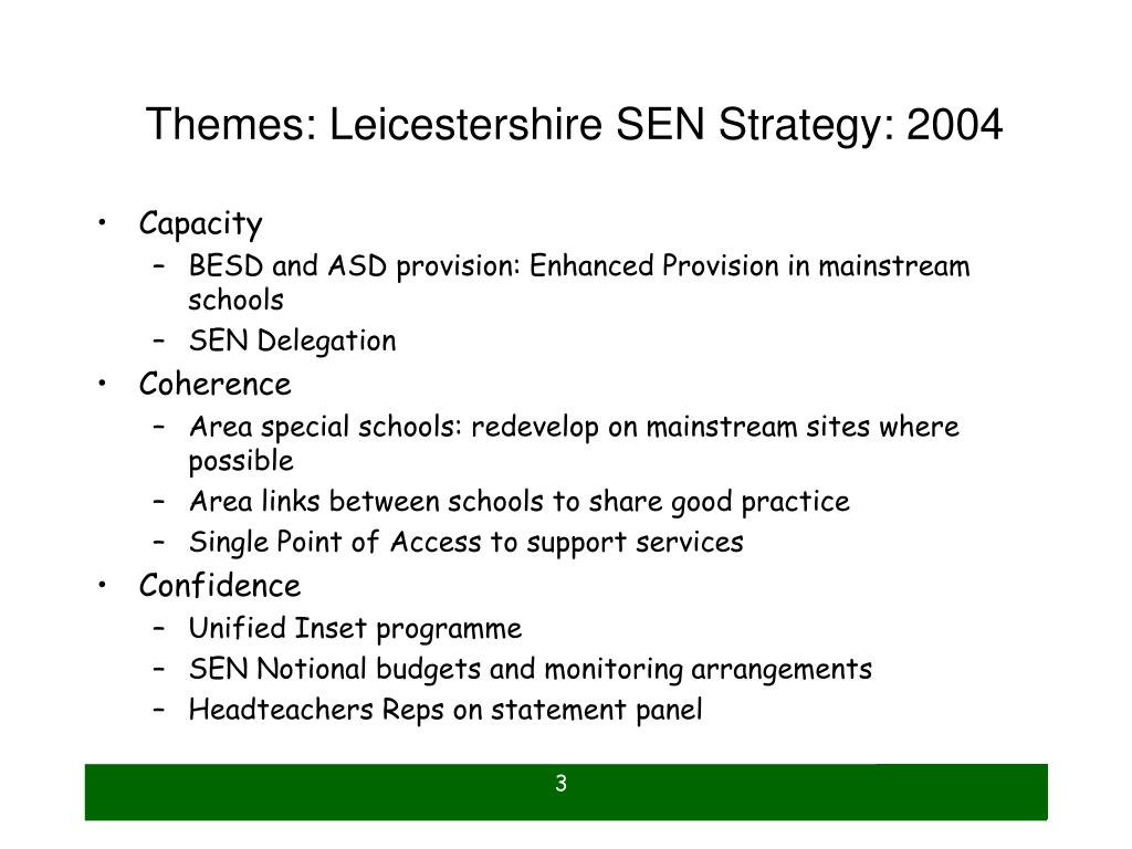 Themes: Leicestershire SEN Strategy: 2004