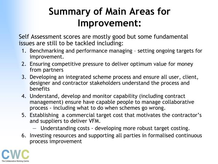 Summary of Main Areas for Improvement:
