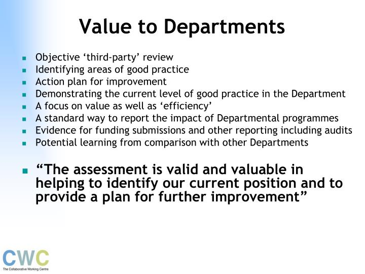 Value to Departments