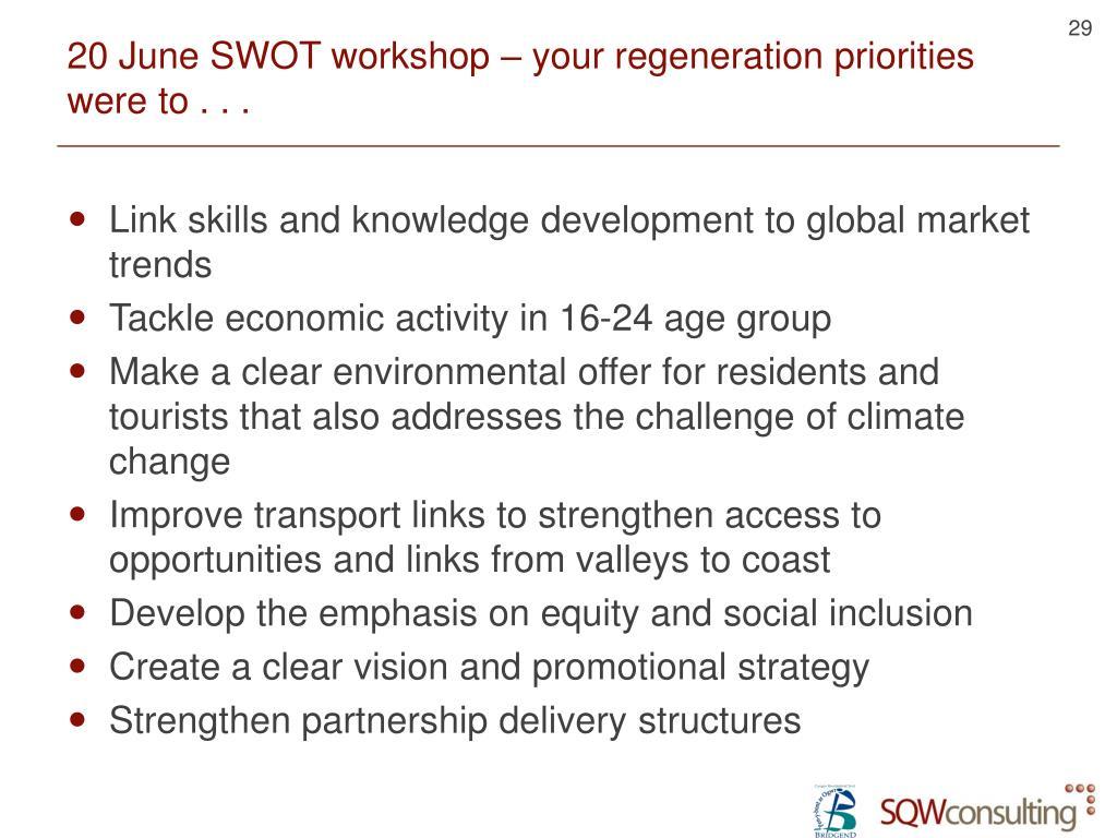 20 June SWOT workshop – your regeneration priorities were to . . .