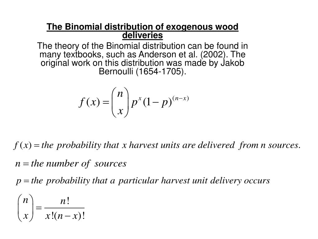 The Binomial distribution of exogenous wood deliveries