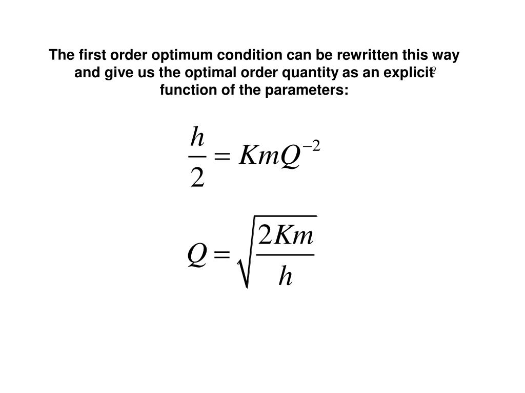 The first order optimum condition can be rewritten this way and give us the optimal order quantity