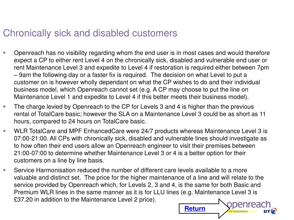 Chronically sick and disabled customers