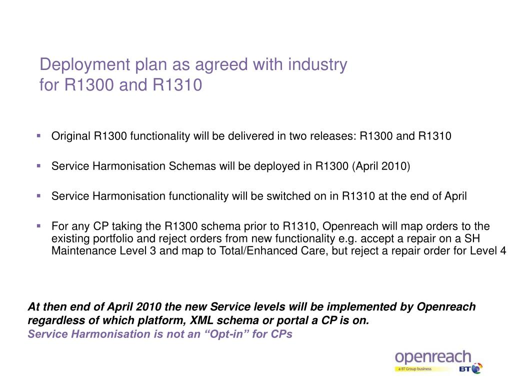 Deployment plan as agreed with industry