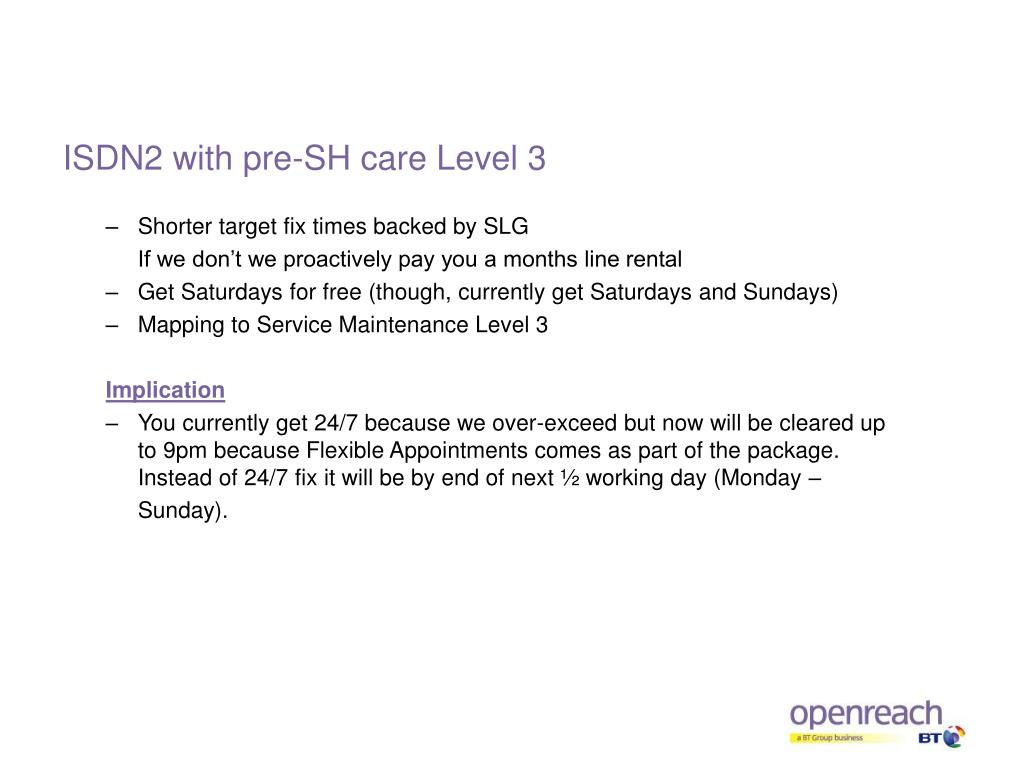 ISDN2 with pre-SH care Level 3