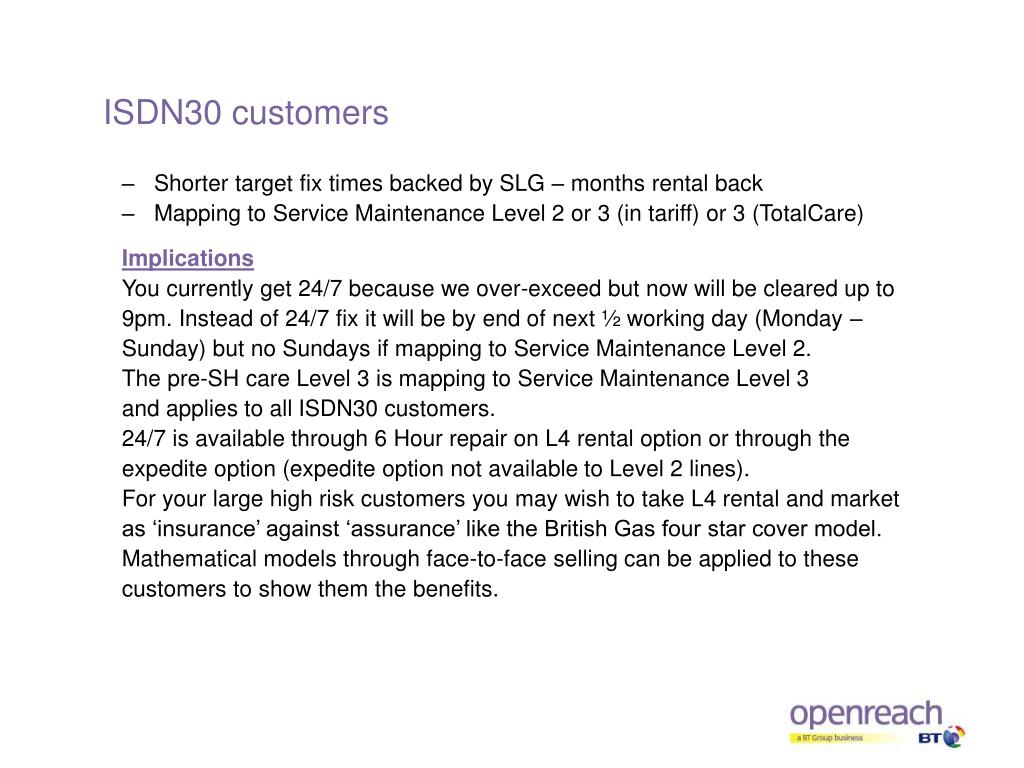 ISDN30 customers