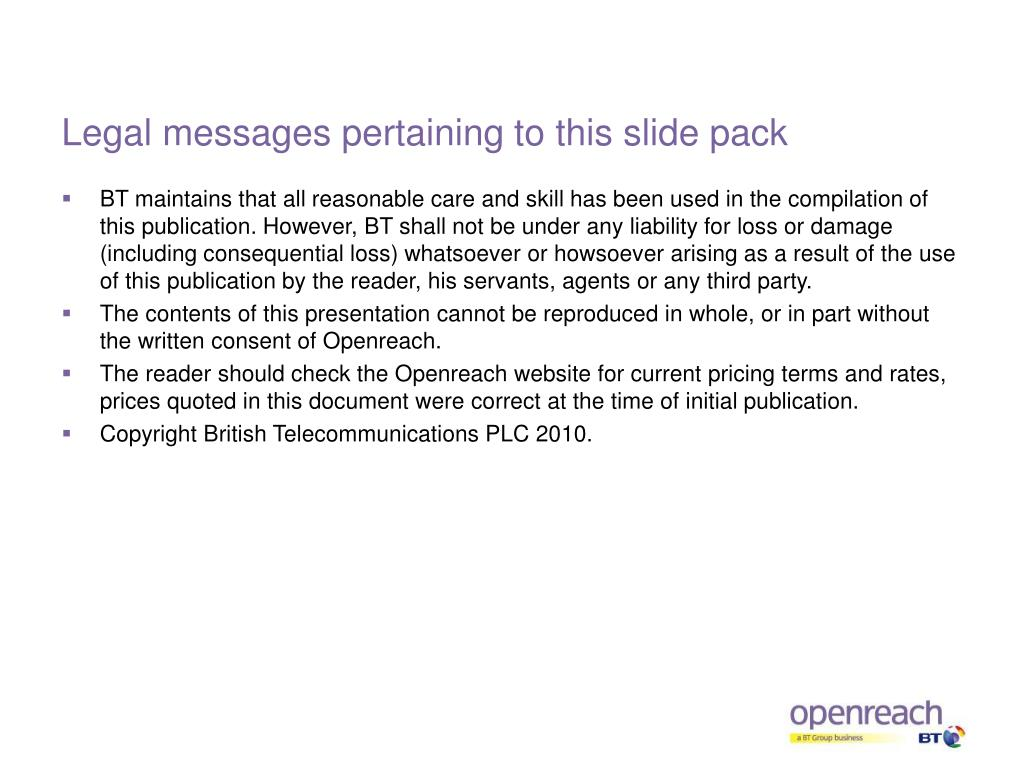 Legal messages pertaining to this slide pack