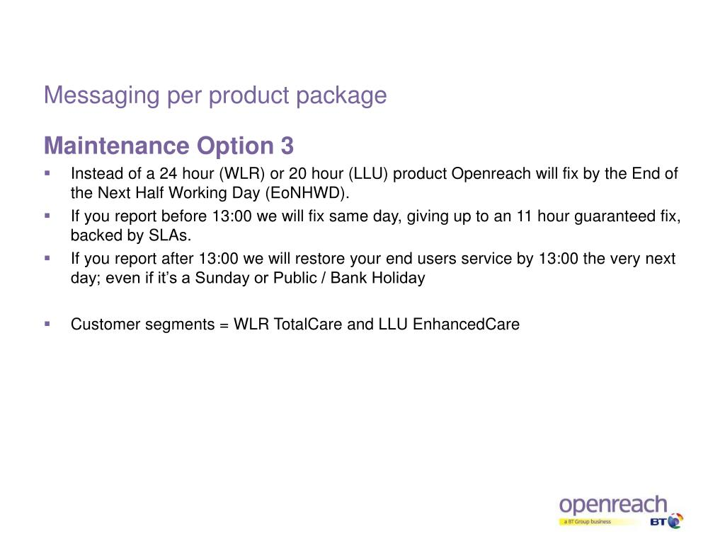 Messaging per product package