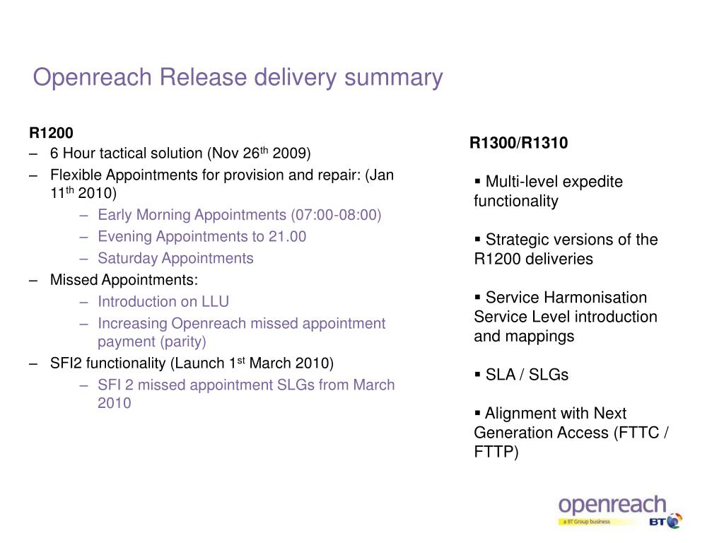 Openreach Release delivery summary
