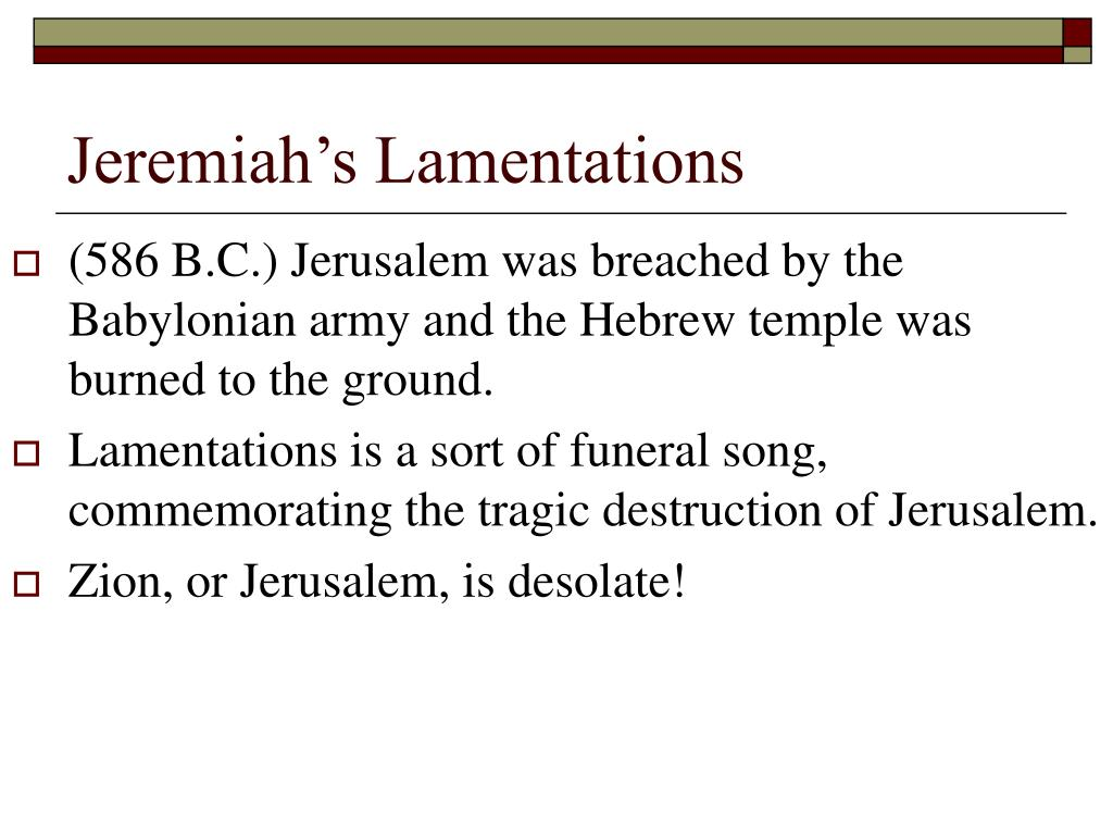 Jeremiah's Lamentations