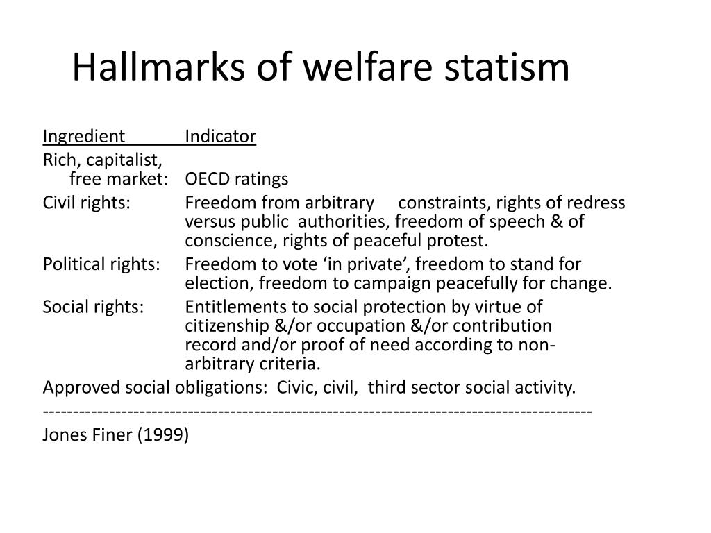 Hallmarks of welfare statism