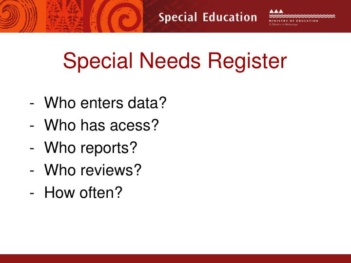 Special Needs Register