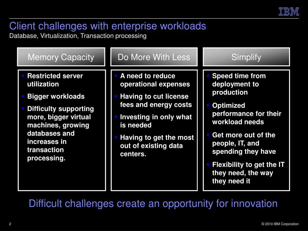 Client challenges with enterprise workloads