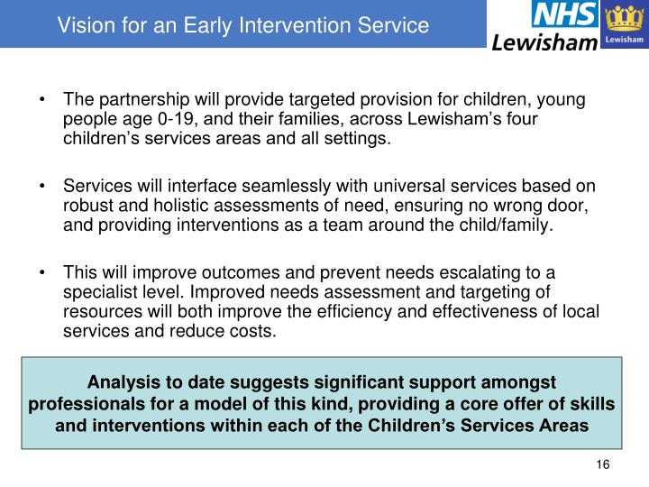 Vision for an Early Intervention Service