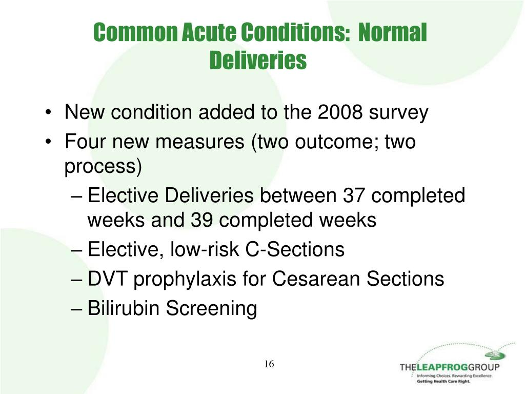 Common Acute Conditions:  Normal Deliveries