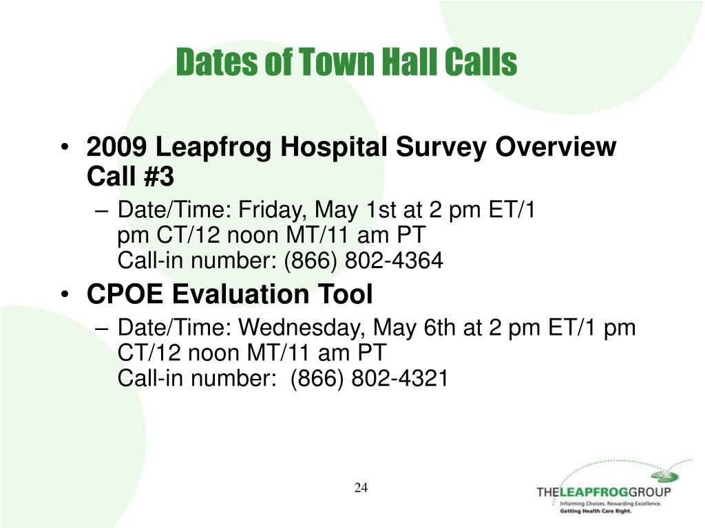 Dates of Town Hall Calls