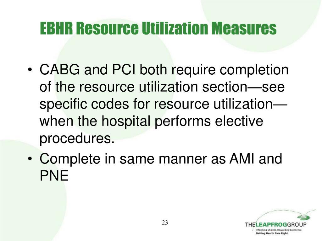EBHR Resource Utilization Measures