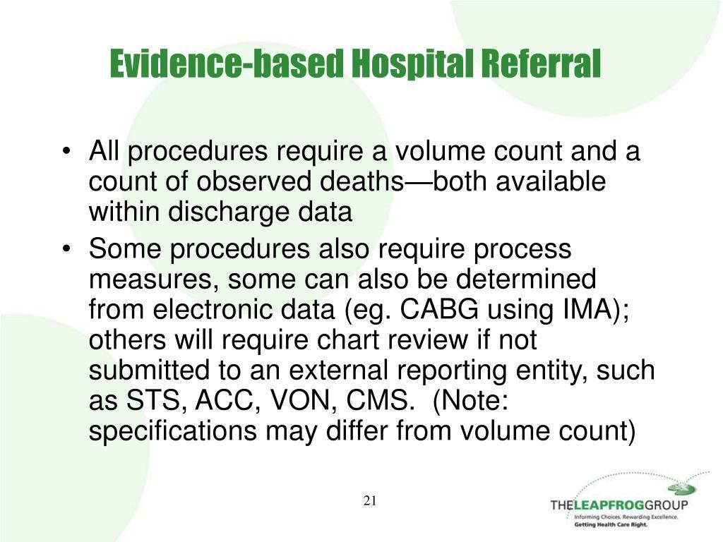 Evidence-based Hospital Referral