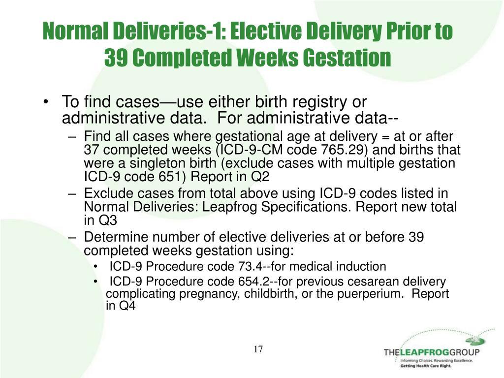 Normal Deliveries-1: Elective Delivery Prior to 39 Completed Weeks Gestation