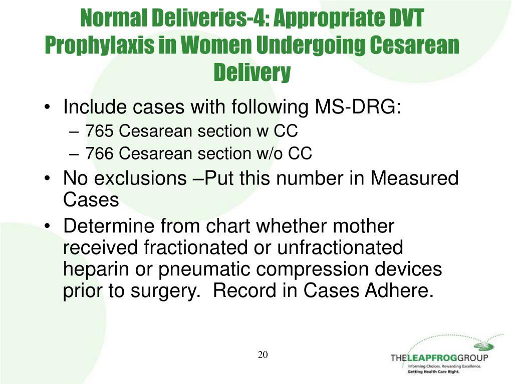 Normal Deliveries-4: Appropriate DVT Prophylaxis in Women Undergoing Cesarean Delivery