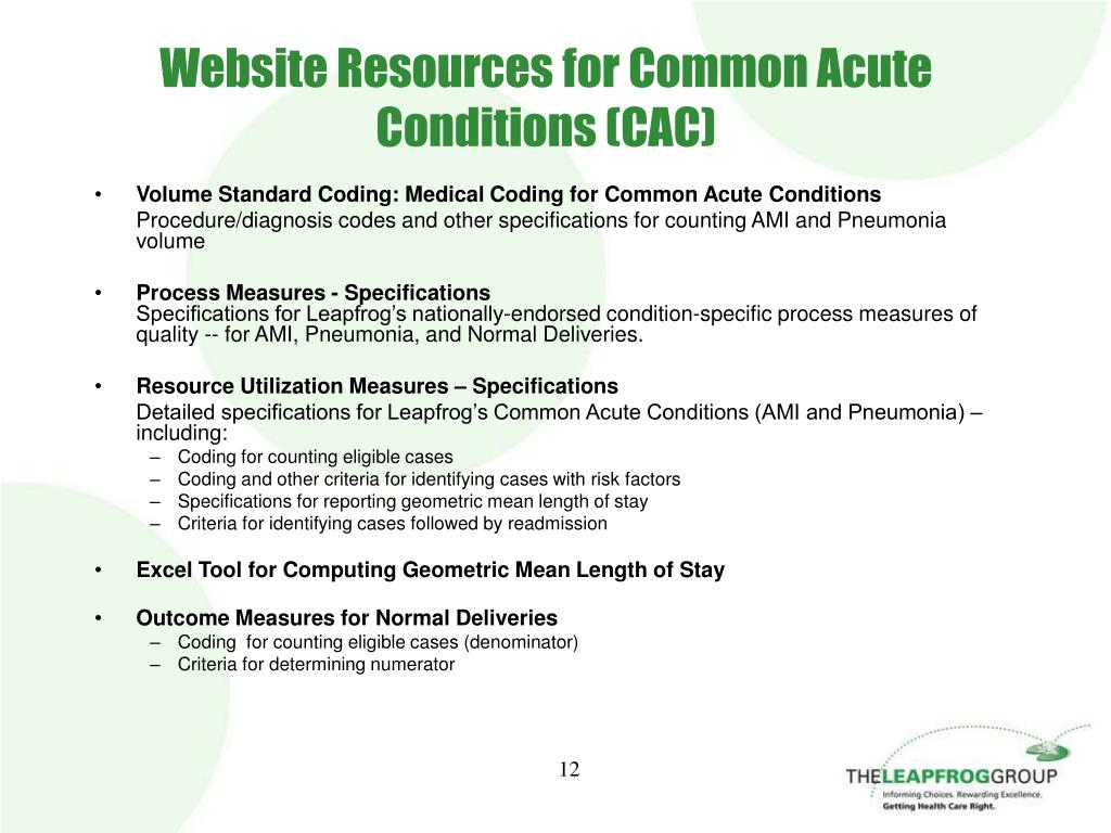 Website Resources for Common Acute Conditions (CAC)