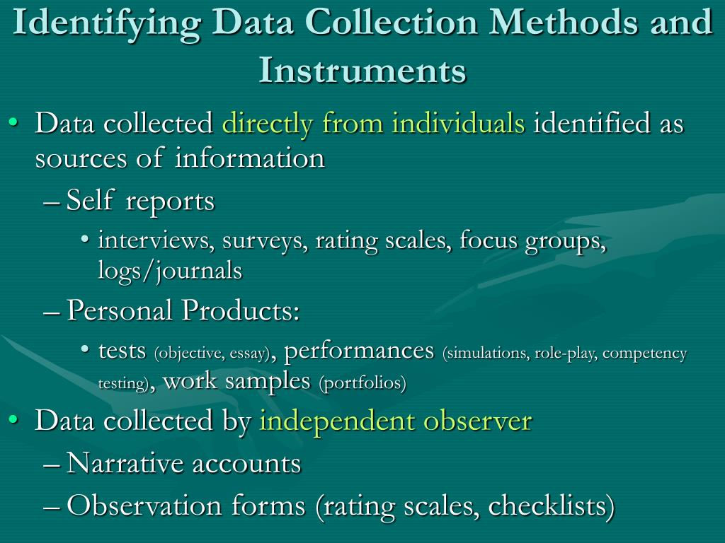 Identifying Data Collection Methods and Instruments