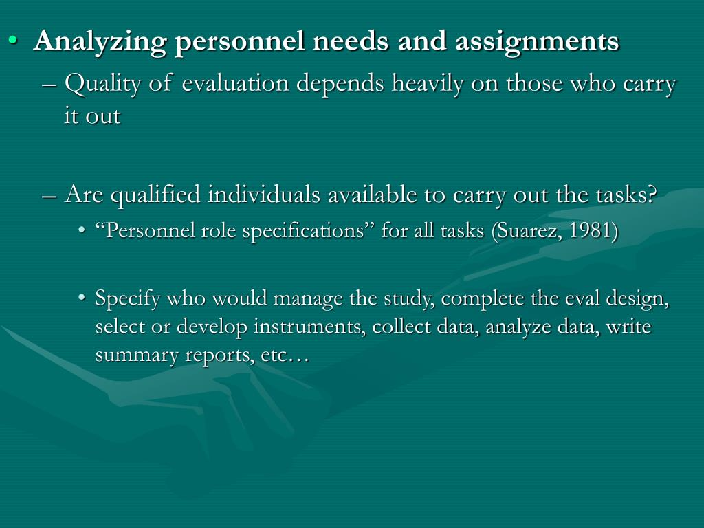 Analyzing personnel needs and assignments