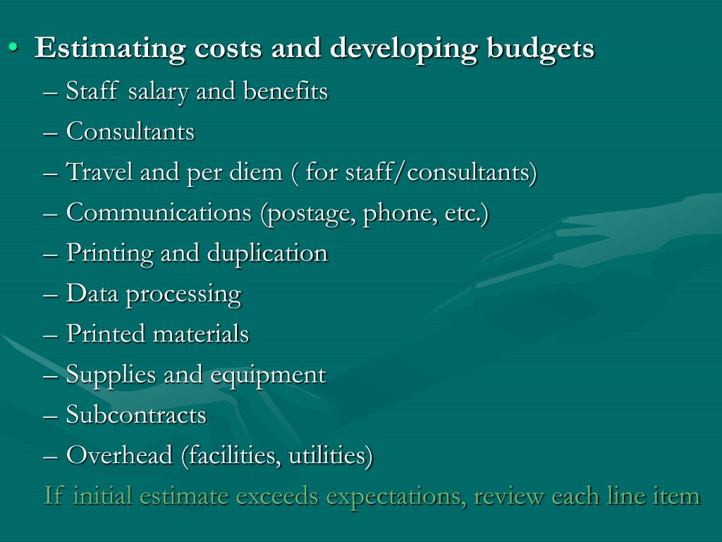 Estimating costs and developing budgets