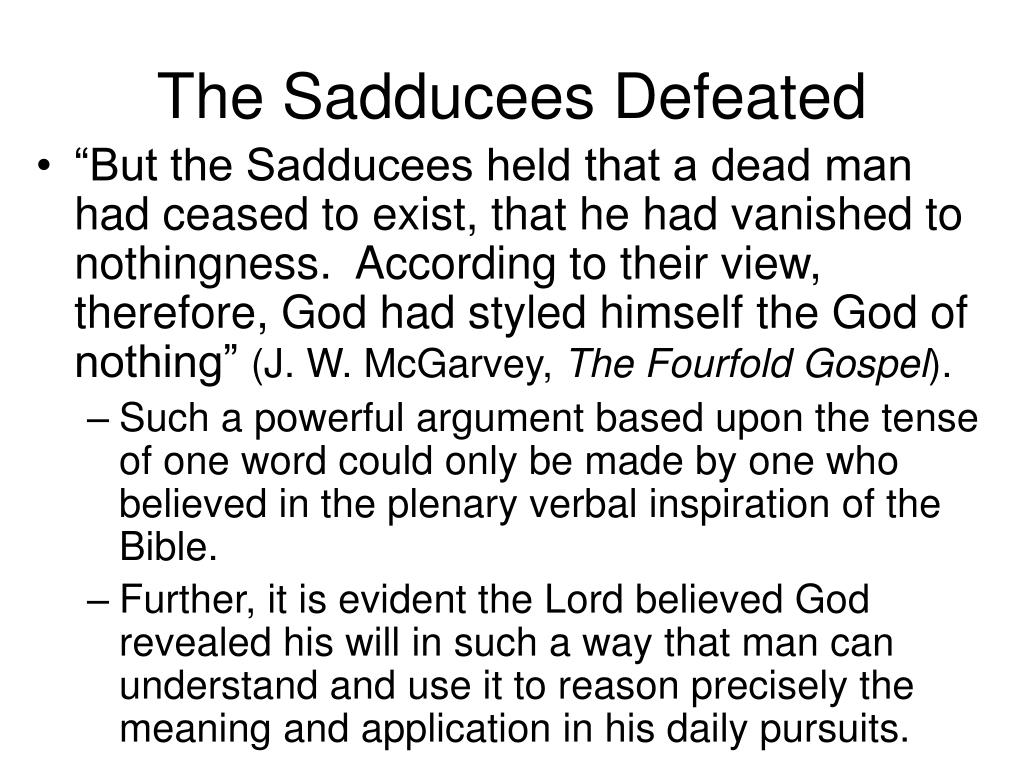 The Sadducees Defeated