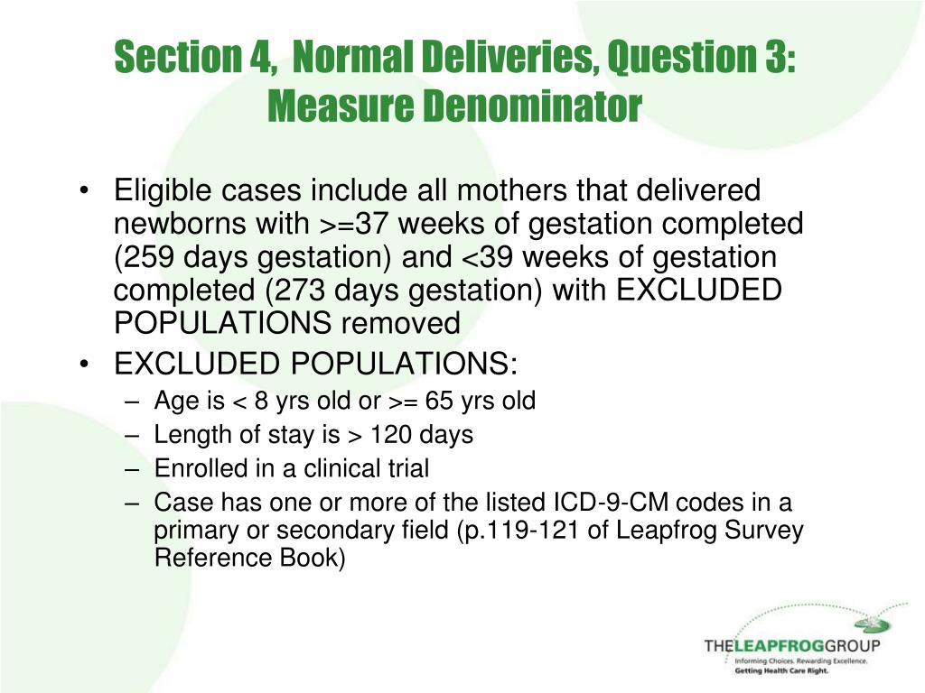 Section 4,  Normal Deliveries, Question 3: