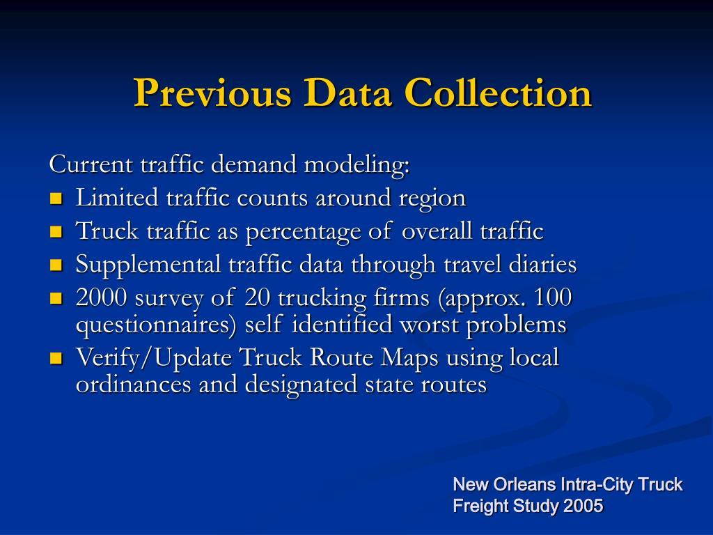 Previous Data Collection