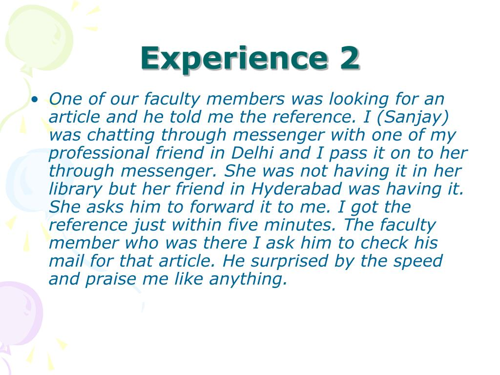 Experience 2