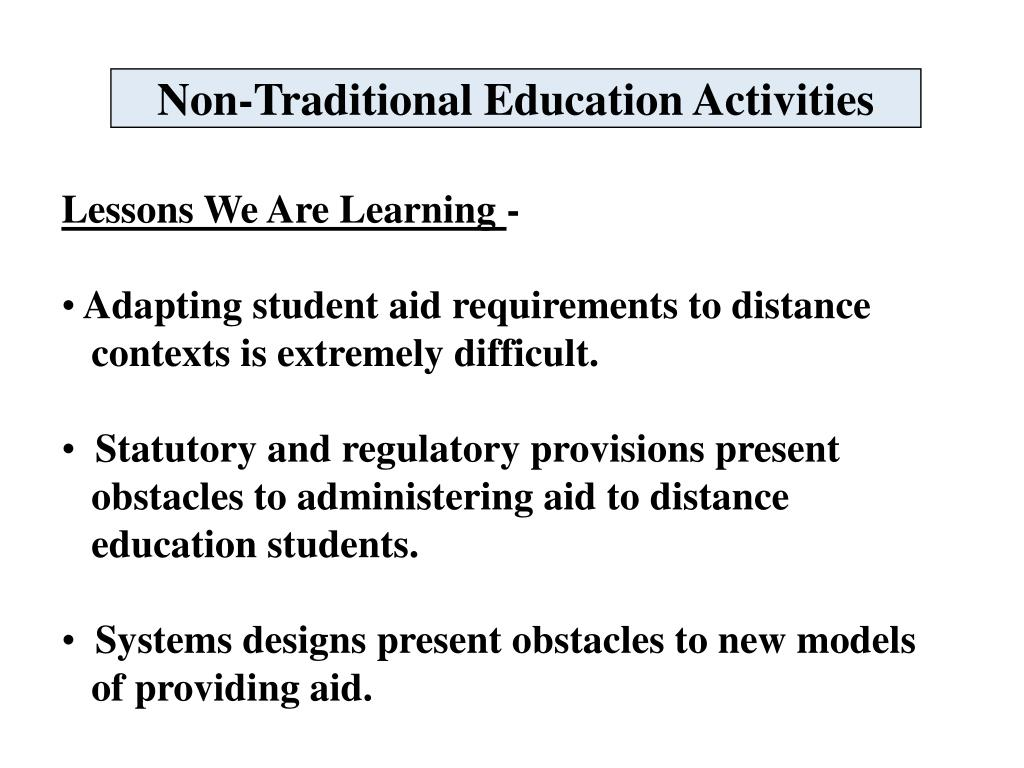 Non-Traditional Education Activities