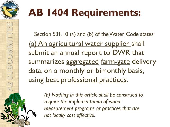 AB 1404 Requirements: