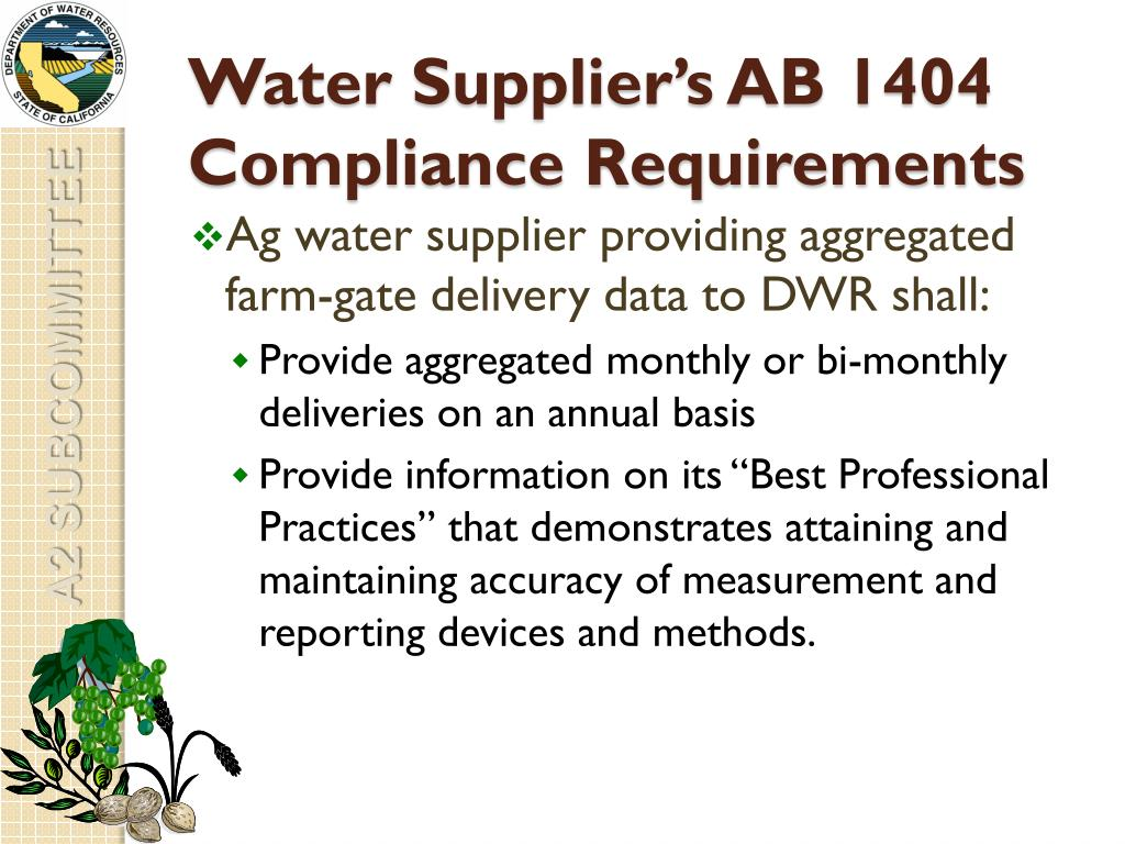 Water Supplier's AB 1404 Compliance Requirements