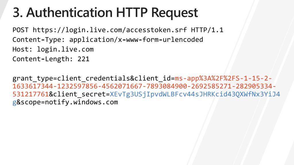 3. Authentication HTTP Request
