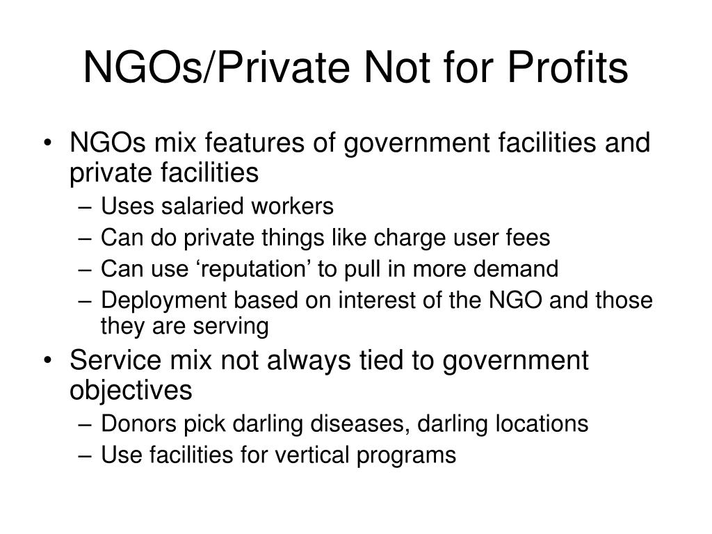 NGOs/Private Not for Profits