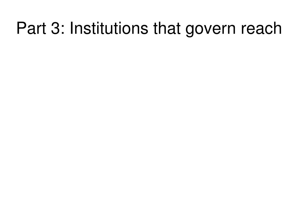 Part 3: Institutions that govern reach