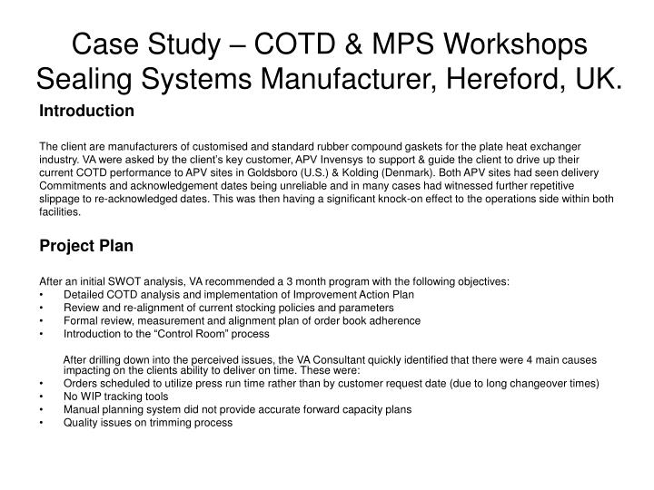 Case study cotd mps workshops sealing systems manufacturer hereford uk
