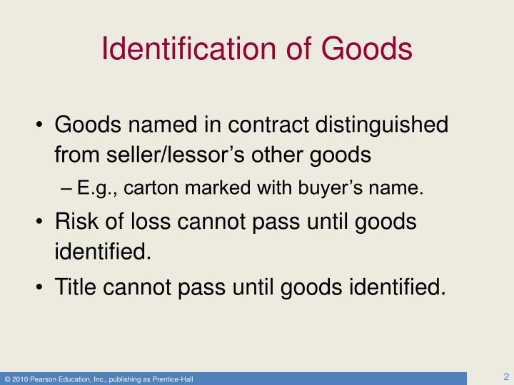 Identification of goods