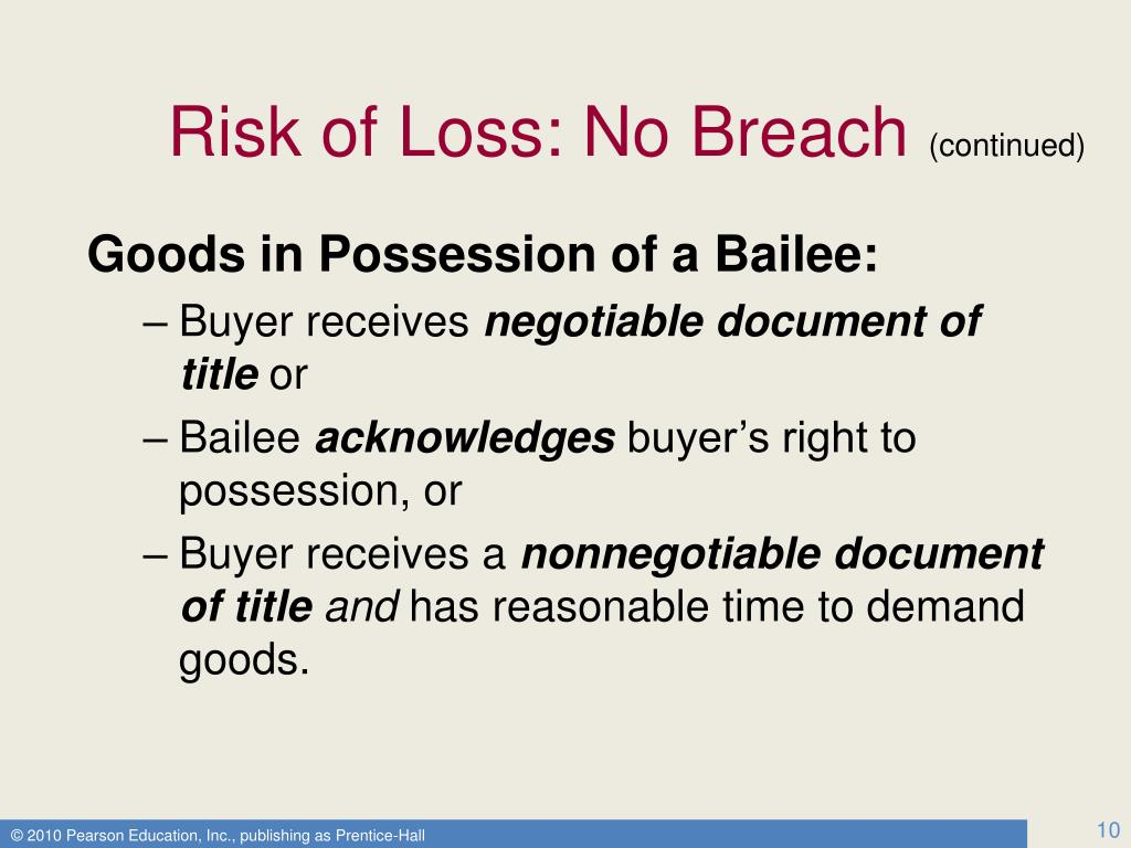 Risk of Loss: No Breach