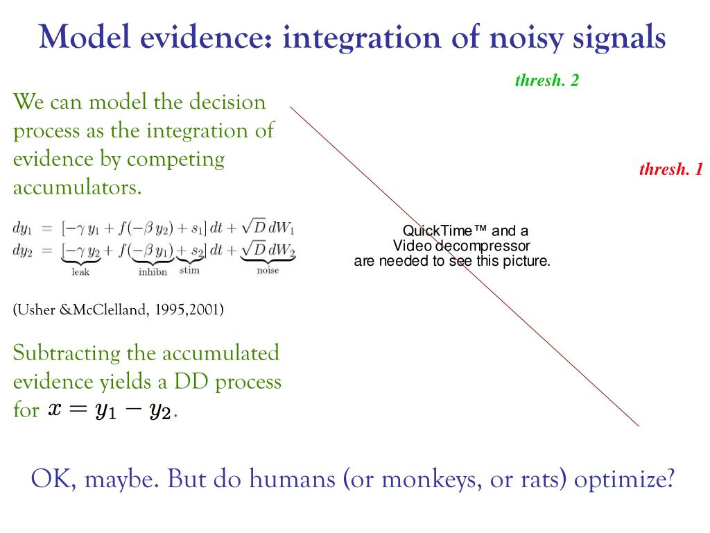 Model evidence: integration of noisy signals