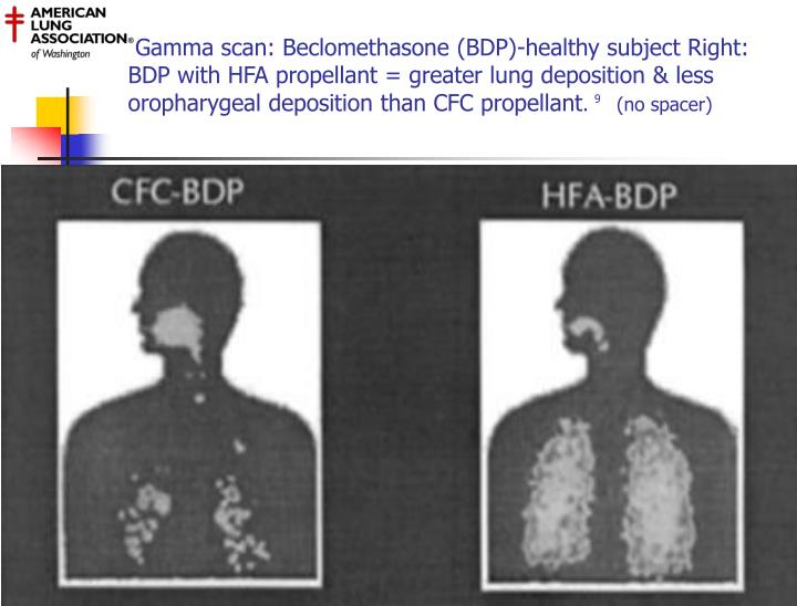 Gamma scan: Beclomethasone (BDP)-healthy subject Right: