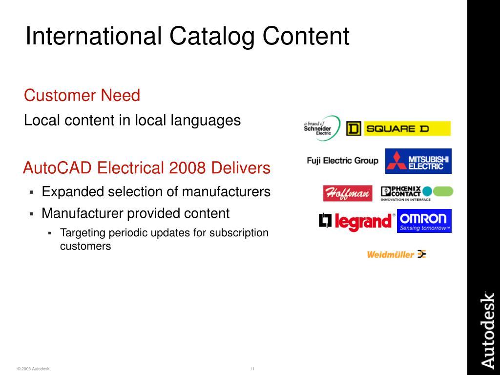 International Catalog Content