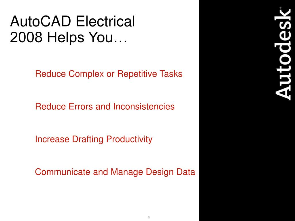 AutoCAD Electrical 2008 Helps You…