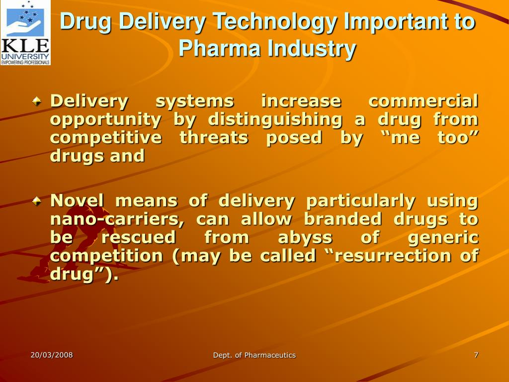 Drug Delivery Technology Important to Pharma Industry