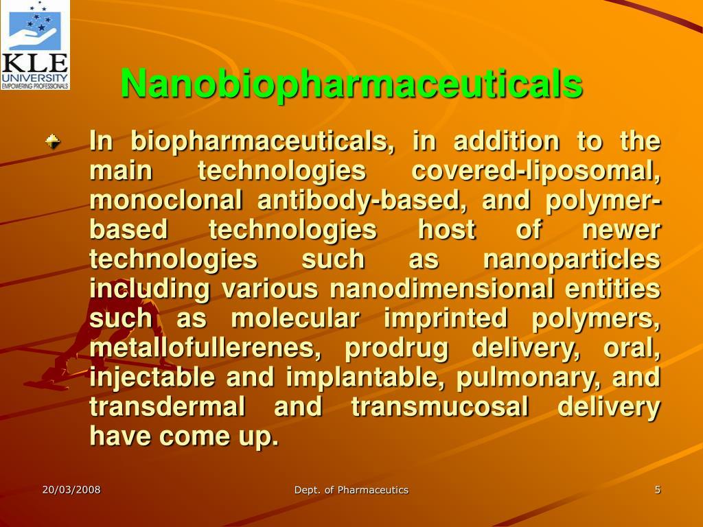 Nanobiopharmaceuticals