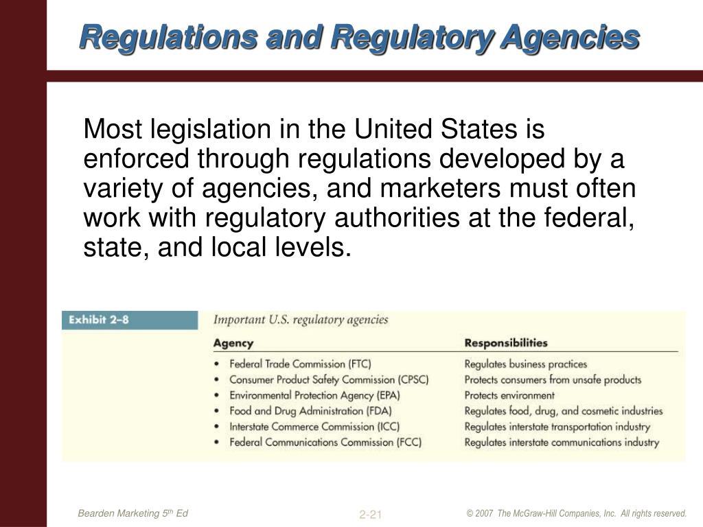 Regulations and Regulatory Agencies